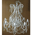 19th Century Crystal Drop Pristine 8 Light Chandelier.
