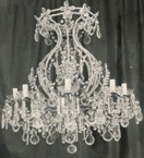 Antique Pristine Continental Crystal Drop 8 Light Chandelier.