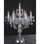Crystal Drop Murano Glass 7 Light Table Lamp With Bobeches.