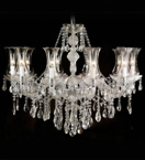 Murano Crystal Drop Glass 10 Light Chandelier With Bobeches.