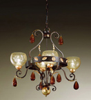 Ambra Design Chandelier With Two Curves, Inlets & Hand-blown Glass