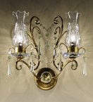 Anfora Design 2 Arm Wall Light with Glass Shade and Crystal Detail