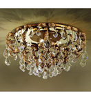 Specchio Design Flush Fitting Chandelier with Golden Leaf Details