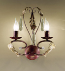 Fiocco Design Wall Lamp with Leaves and Crystal Detail