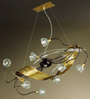 Spirale design forged metal chandelier with blown glass details