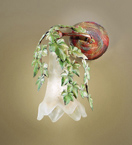 Edera Design 1 Light wall lamp That has hand forged leaves details