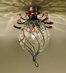Soffiati chandelier in the shape of a flower bud made from iron & blown glass