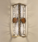Decó Design metal wall light with white & gold murano glass details