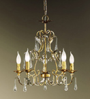 Villa Design Gold Chandelier with Crystal Drops
