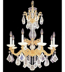 Gold Metal & Clear Crystal Tiered Elegant Chandelier